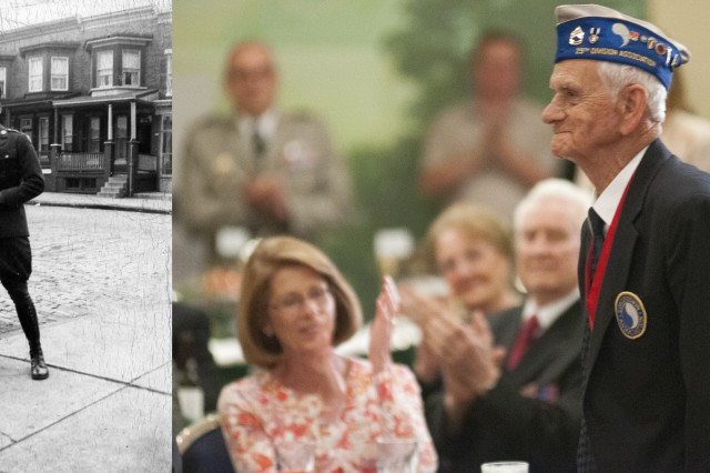 """Vintage photo of World War II veteran Walter W. Heline next to a contemporary photo of him during a reception in honor of World War II veterans, in advance of a """"Twilight Tattoo"""" ceremony, June 6, 2012 at Joint Base Myer-Henderson Hall, Va.  The event was held in conjunction with the 68th anniversary of the Allied invasion of Normandy, France, June 6, 1944.  The theme of the ceremony was """"Saluting World War II Veterans on the 68th Anniversary of D-Day"""".  Twilight Tattoo is an hour-long military pageant featuring Soldiers from the 3rd U.S. Infantry Regiment (The Old Guard) and The U.S. Army Band """"Pershing's Own.""""  For more information go to http://twilight.mdw.army.mil/ (U.S. Army photo by Staff Sgt. Bernardo Fuller)"""