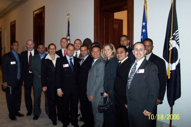 Lt. Col. Victor Green (Right), 412th Theater Engineer Command, during a class visit to the U.S. Capitol in Washington, D.C. in 2006.  Green at the time was attending resident ILE course at the Western Hemisphere Institute for Security Cooperation, Fort Benning, Ga.