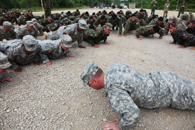 U.S. Army Europe's 2nd Cavalry Regiment Lt. Col. Kendric Robbins leads soldiers from eight different NATO partner nations in performing pushups after the closing ceremonies of the Immediate Response 2012 training event held in Slunj, Croatia, June 9.