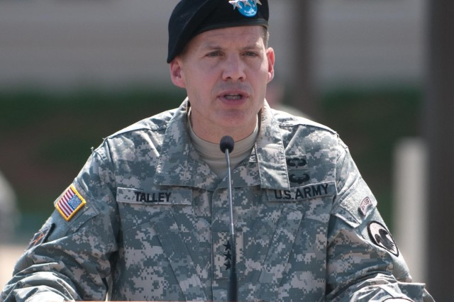 Lt. Gen. Jeffrey W. Talley addresses the audience during the U.S. Army Reserve Command promotion ceremony and change-of-command ceremony at Fort Bragg, N.C., June 9, 2012. Talley becomes the 32nd Chief, U.S. Army Reserve and the seventh commanding general of the U.S. Army Reserve Command.
