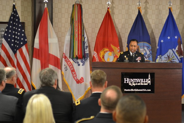 Lt. Gen. (P) Dennis Via speaks during the kick-off of Armed Forces Celebration Week.