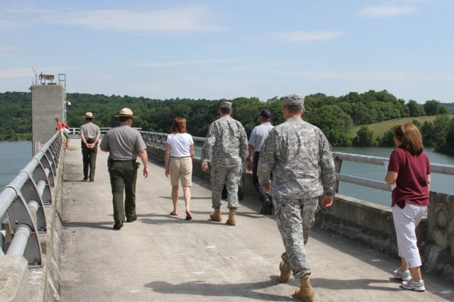 Jo-Ellen Darcy, the Assistant Secretary of the Army for Civil Works, went on a tour of the dam at Blue Marsh Lake with USACE staff. The tour was a part of activities on Get Outdoors Day. The U.S. Army Corps of Engineers' Philadelphia District hosted the day to encourage outdoor activity and water safety.