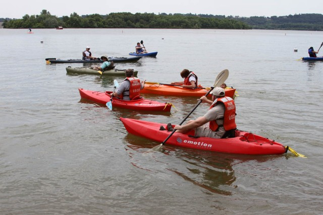 Jo-Ellen Darcy, the Assistant Secretary of the Army for Civil Works; Blue Marsh Lake visitors and U.S. Army Corps of Engineers' Philadelphia District staff participated in a kayaking sojourn during Get Outdoors Day on June 9th.