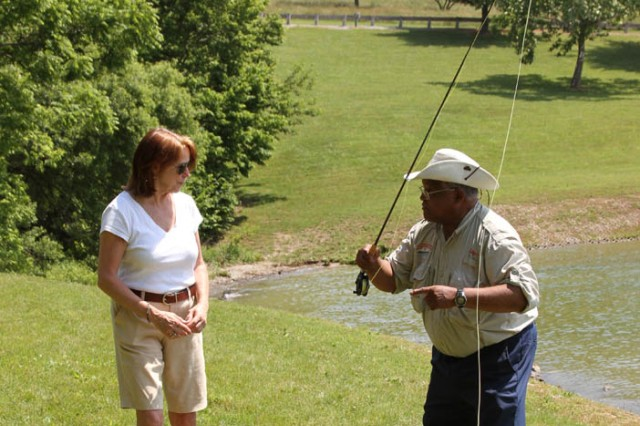 Jo-Ellen Darcy, the Assistant Secretary of the Army for Civil Works, learned fly fishing techniques from Edgar Payne during Get Outdoors Day at Blue Marsh Lake on June 9th. The U.S. Army Corps of Engineers' Philadelphia District hosted the event to encourage outdoor activity and water safety.