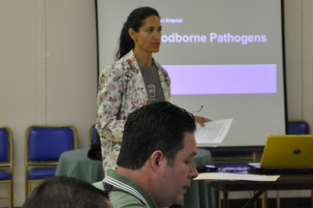 Karen Heiser, one of the Arsenal supervisors who provided safety training, discusses not only the dangers of bloodborne pathogens, but also how to protect against coming in contact with pathogens.  This was one of four safety-related presentations she made.