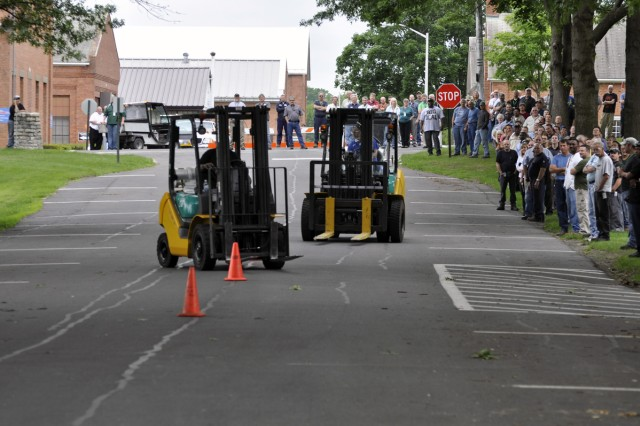 The Arsenal's Safety Stand-Down Day ended on a high note with the forklift rodeo that pitted the Installation Management drivers against the drivers from the Operations Directorate.  The Operations Directorate went on to win this competition.