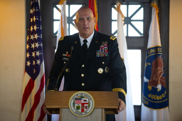 U.S. Army Chief of Staff Gen. Raymond T. Odierno gives his remarks during a breakfast with Los Angeles civic leaders inside the Mayor Tom Bradley room of City Hall in Los Angeles, June 12, 2012.