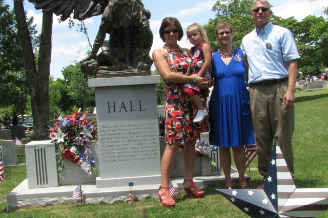 "The Hall family "" including daughter-in-law Allison with daughter Audrey, mom Annette and dad Charlie  -- spent time together on Memorial Day at the Maple Hill Cemetery gravesite of their fallen Soldier, Staff Sgt. Jeffrey Hall."