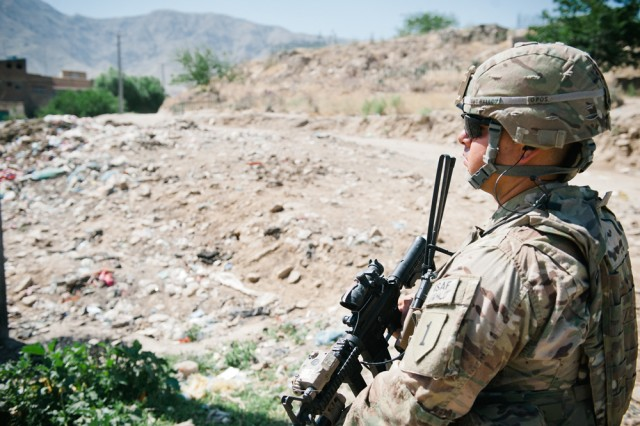 Staff Sgt. Francisco Ballou pulls security during a mission in eastern Afghanistan's Parwan Province, June 11