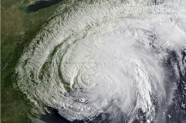 Seven emergency power response teams were mobilized for Hurricane Irene, shown in this aerial image.