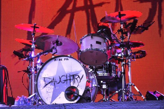 FORT CARSON, Colo. -- Drums sit on the stage before the start of the Daughtry concert June 8.