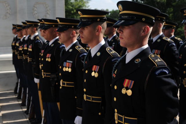 Soldiers from the 3d U.S. Infantry Regiment (The Old Guard), stand at the position of attention during a Full Honor Wreath Ceremony in honor of the Army's 237th birthday at the Tomb of the Unknown Soldier, Arlington National Cemetery, Va., June 14, 2012. (U.S. Army photo by Spc. Devin Kornaus)