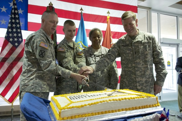 U.S. Army Intelligence and Security Command Soldiers and military personnel celebrate the 237th U.S. Army Birthday at Fort Belvoir, Va.