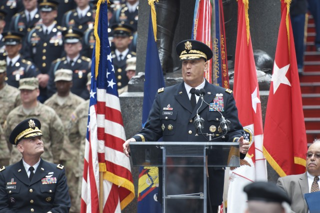 Gen. Raymond T. Odierno, 38th Chief of Staff of the Army, speaks in Times Square June 14 during the Army's 237th birthday celebration.