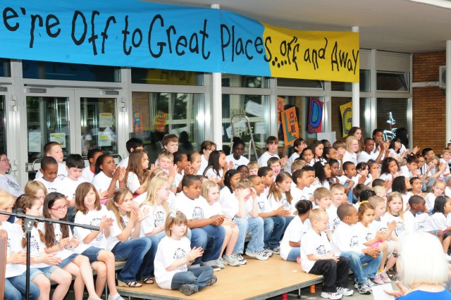 Mannheim Elementary School students gather for the school's closing ceremony June 8 in Mannheim, Germany. The school closure marked 66 years of Department of Defense Dependents Schools support to the community, which closed summer 2011.