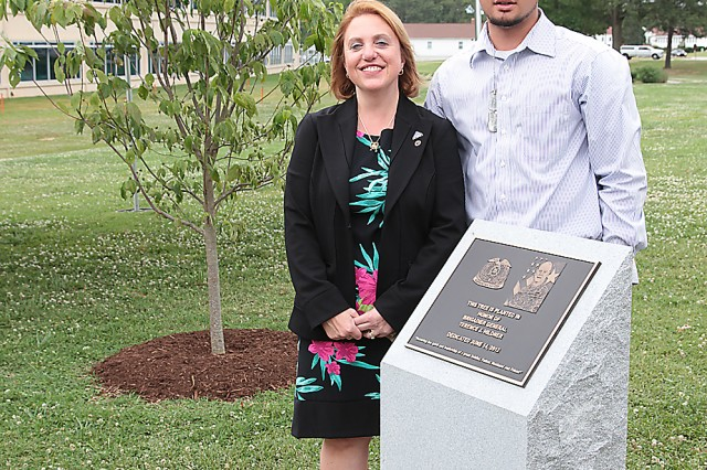 Cindy Hildner and Jonathan Hildner, widow and son of Brig. Gen. Terence J. Hildner, former commanding general of the 13th Sustainment Command (Expeditionary), Fort Hood, Texas, attended a ceremony Thursday in honor of the former commander of the 23rd Quartermaster Brigade. During the ceremony, a marker was unveiled near a dogwood tree that was planted in memory of Hildner, who died Feb. 3 in Kabul, Afghanistan, of natural causes. Hildner also served as Combined Arm Support Command G3/director, Training and Doctrine.