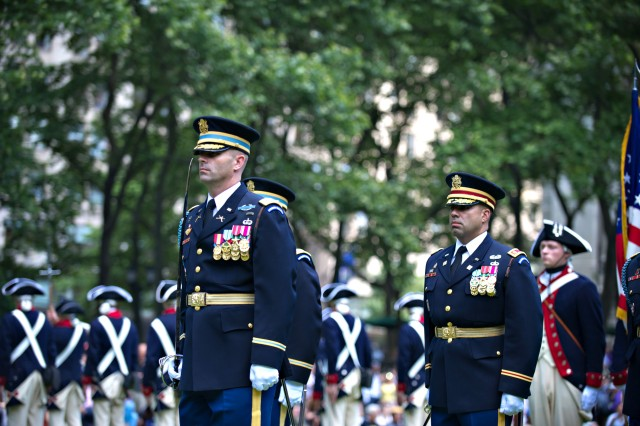 "Soldiers from the 3rd Infantry Regiment ""The Old Guard"" perform during a patriotic celebration at in honor of the U.S. Army's 237th birthday at Bryant Park in New York City, June 14, 2012."