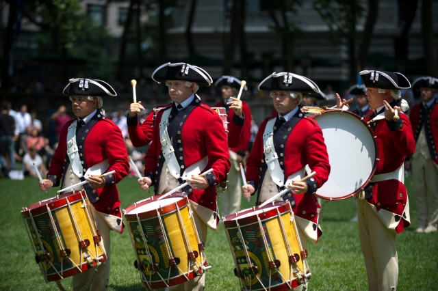 "Soldiers from ""The Old Guard"" Fife & Drums Corps perform during a patriotic celebration in honor of the U.S. Army's 237th year birthday at Bryant Park in New York City, June 14, 2012."