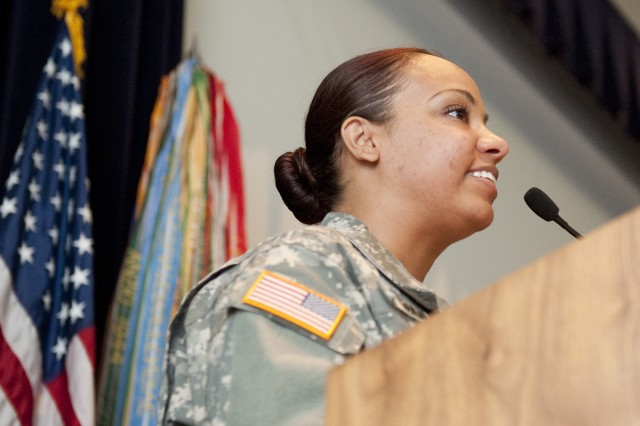 Staff Sgt. Sharalis Canales speaks during the 237th Army Birthday celebration at Natick Soldier Systems Center. In less than seven years, Canales transformed herself from a homeless New York City resident to a respected noncomissioned officer at NSSC.