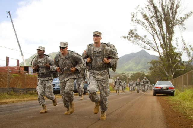 Select Soldiers from U.S. Army Pacific came together to compete and earn the German Armed Forces Proficiency Badge at Schofield Barracks, Hawaii, June 5-6, 2012. Day one included a ruck march carrying 33lbs and 4 quarts of water.