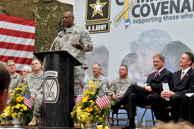 Army Community Covenant renewal signing outside Fort Drum