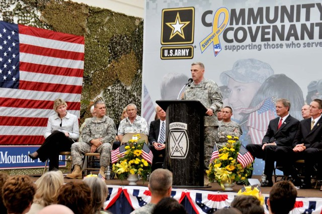 "Maj. Gen. Mark A. Milley, Fort Drum and 10th Mountain Division (LI) commander, speaks to a northern New York crowd Friday at the Salmon Run Mall in Watertown, N.Y., where officials gathered for the signing of an Army Community Covenant renewal ceremony. ""We cannot thank you enough,"" Milley told the public. ""Our children go to your schools. Our families shop in this mall. Our sick, our wounded, our ill are treated at Samaritan and Carthage. Our babies are born in your hospitals. We drink your water. We use your electricity."""