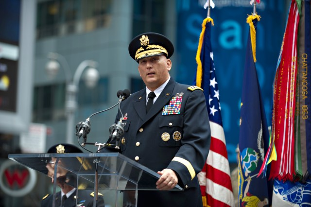 Army Chief of Staff Gen. Raymond T. Odierno gives his remarks during a ceremony celebrating the U.S. Army's 237th birthday at Times Square in New York City, June 14, 2012.