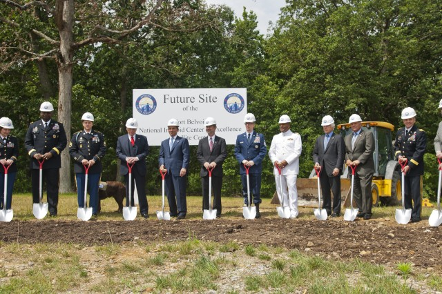 Military officials, along with leaders from the Intrepid Fallen Heroes Fund, break ground for a state-of-the-art National Intrepid Center of Excellence satellite center June 13, 2012, at Fort Belvoir, Va. The Belvoir satellite is expected to service more than 600 military patients per year, expanding the military medical system's ability to improve detection, diagnosis and treatment of traumatic brain injury and psychological health conditions suffered by the nation's service members.