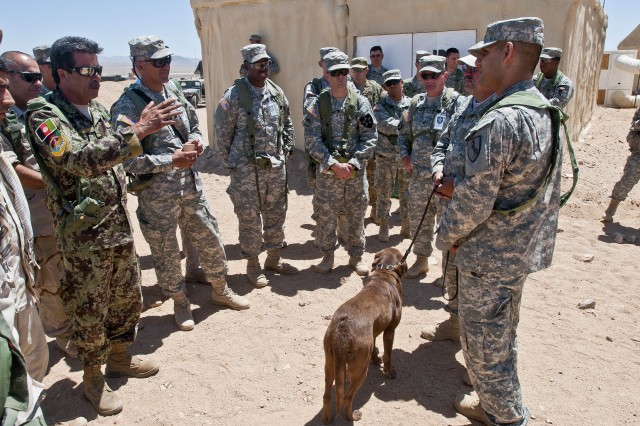 "An Afghan role player portraying an Afghan army officer asks David Sheffer, a dog trainer with Vohne Liche Kennels in Denver, Ind., a question about Coba, a 3-year-old chocolate lab and tactical explosives detector dog, June 14 at the National Training Center on Fort Irwin, Calif., during a demonstration of Coba's abilities for 4th Stryker Brigade, 2nd Infantry Division Soldiers, role players and government civilians. Sheffer spent 10 days "" from June 5 to 15 "" escorting Coba to various companies and platoons across the brigade, which will soon select 25 handlers for training to lead a similar dog in Afghanistan when they deploy later this fall."