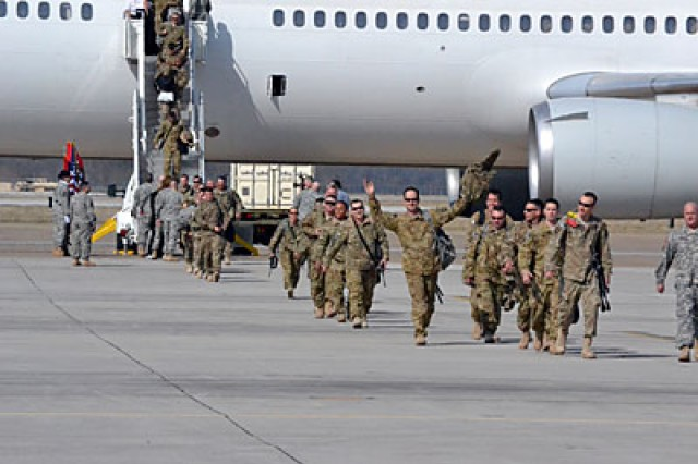 Soldiers from the 159th Combat Aviation Brigade step back onto American soil in February, after completing a one-year deployment to southern Afghanistan. The unit received the Army's Best of the Best Award during a ceremony in Washington June 5 for the efficiency and competency demonstrated throughout the deployment, as well as for their efforts in passing their lessons learned on to other units.