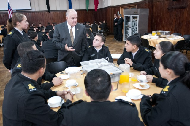"Under Secretary of the Army Joseph W. Westphal shares advice with Chilean Army cadets at Chile's National Military Academy, ""Liberator Bernardo O'Higgins"" Military School, which houses 1,600 cadets, June 13, 2012, in Santiago, Chile.  Westphal participated in the 12th U.S. and Chile Defense Consultative Commission and visited with select Chilean Army units to expand partnership capacity.  The U.S. and Chilean defense partnership is focused on a range of initiatives, from disaster response to conducting joint exercises and training."