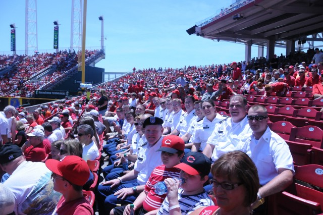 Soldiers of the 100th Army Band enjoy a baseball match up between the Cincinnati Reds and the Cleveland Indians. The 100th played the National Anthem on Flag Day, June 14 at the Great American Ball Park in Cincinnati as well as God Bless America during the seventh inning stretch.