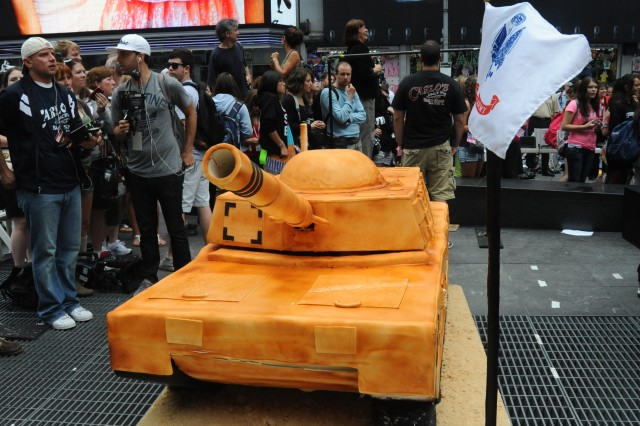 Buddy Valastro from the TV show Cake Boss, constructed a cake resembling a M1 Abrams tank for the U.S. Army's 237th birthday at Times Square, New York City on June 14, 2012.