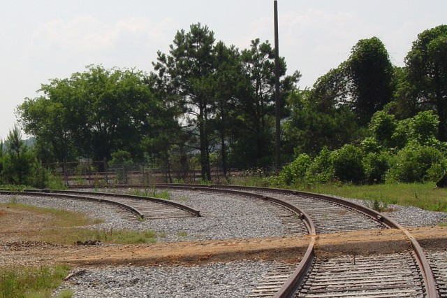 These existing railroad tracks will soon become part of a new rail interchange at Anniston Army Depot, allowing trains carrying ammunition to enter the depot closer to their final destination.