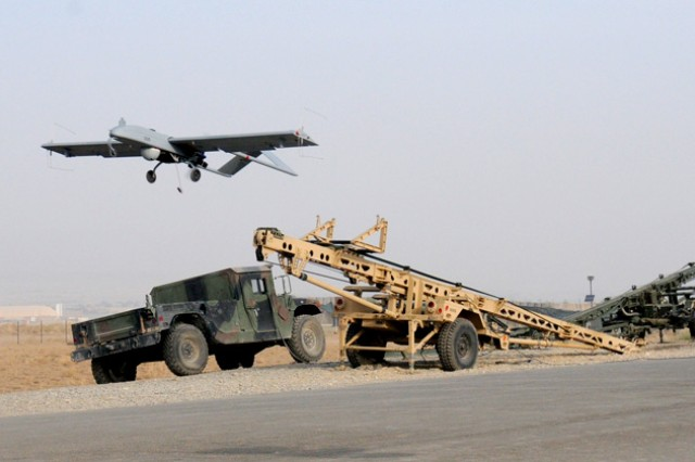 A Shadow Unmanned Aircraft System launches in Afghanistan in 2011.  Army Unmanned Aircraft Systems will take on a new role as a Combat Aviation Brigade element with the upcoming deployment this fall of the 101st Combat Aviation Brigade.