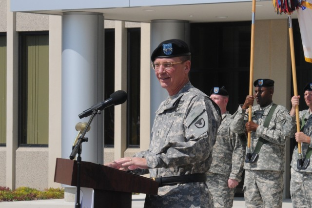 MG Terry makes his remarks to the audience.