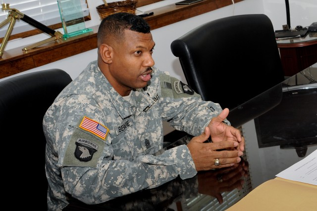Command Sgt. Maj. Lebert Beharie is the senior noncommissioned officer for the U.S. Army Research, Development and Engineering Command.