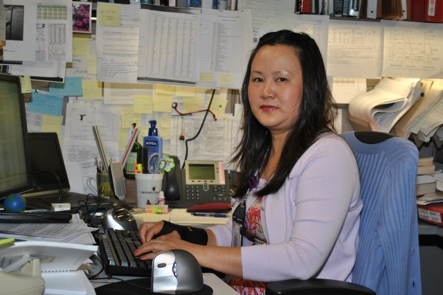 Sarah Xie-DeSoto,a structural engineer in the U.S. Army Corps of Engineers Galveston District's Construction Division's Structural and Geotechnical Section, works to ensure the Corps continues to build strong along the Texas coastline.