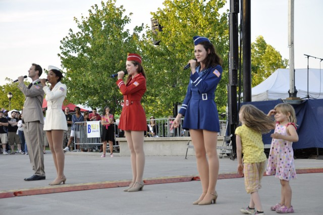 The USO Liberty Bells was one of four performing acts at the City of Albany Father's Day and Army Birthday Concert on June 17.  Children came out of the stands and tried to mimic the Liberty Bells, much to the enjoyment of the crowd.