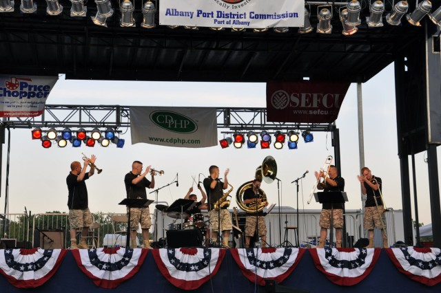 The Army Materiel Command Band's Brass Machine was one of four performing acts at the City of Albany Father's Day and Army Birthday Concert on June 17.