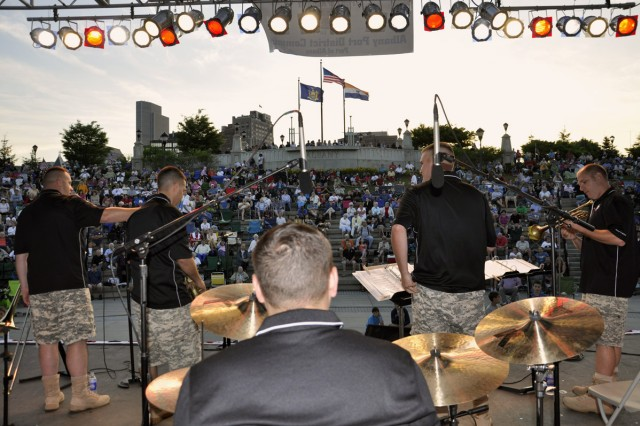 The Army Materiel Command Band's Brass Machine was one of four performing acts at the City of Albany Father's Day and Army Birthday Concert on June 17.  More than 2,500 people were in attendance.