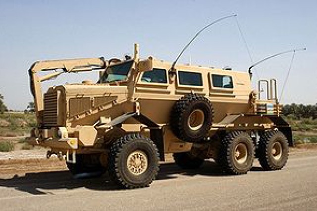 The Army's Buffalo Mine-Protected Clearance Vehicle had its beginnings with the FCT Program.  Its unique V-Shaped hull directs ground explosions away from the vehicle and the Soldiers inside.