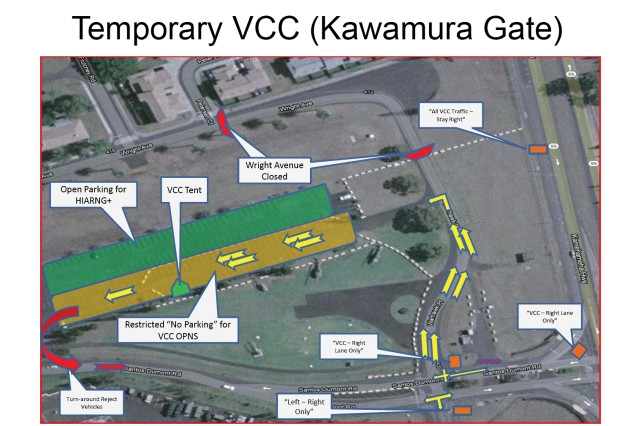 The above map shows the temporary location of the VCC at Kawamura Gate. The relocation allows for planned construction and upgrades on Lyman Gate.