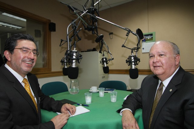 Joseph W. Westphal (right) discusses the United States and Chile's longstanding partnership, the established Army-to-Army relationship between the U.S. and Chile, and hemispheric cooperation on the radio program Dimensión Internacional, hosted by Veronica Clarke (not pictured) and Chilean defense analyst Guillermo Holzman (left). Dimensión Internacional is a half-hour weekly radio discussion produced by the U.S. Embassy Santiago-Chile.