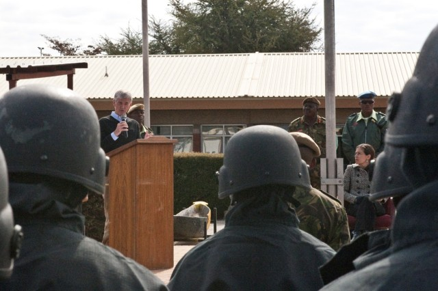 Secretary of the Army John McHugh addresses a formation of Botswana Defence Force and U.S. soldiers following a capabilities demonstration during Exercise Eastern Piper 2012, conducted near Gaborone, Botswana, June 20, 2012.