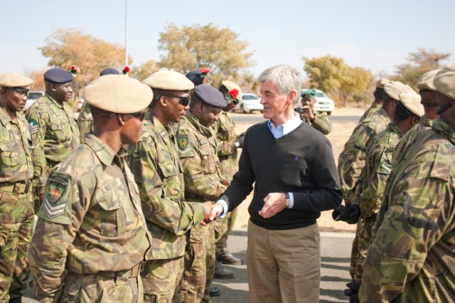 Secretary of the Army John McHugh thanks Botswana Defence Force soldiers for their contributions toward the success of Exercise Eastern Piper 2012 following a capabilities demonstration near Gaborone, Botswana, June 20, 2012.