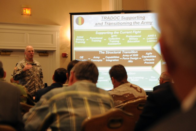 Gen. Robert W. Cone, commanding general of U.S. Army Training and Doctrine Command, speaks to members of the Virginia Peninsula General Douglas MacArthur Chapter of the Association of the United States Army, June 21, 2012, about TRADOC's priorities, challenges and the way ahead for the command and the Army. Cone was the guest speaker for the AUSA professional development forum in Williamsburg, Va.