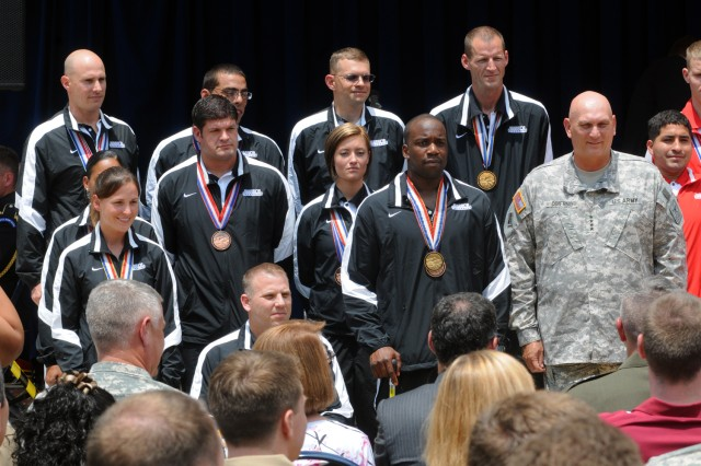 Chief of Staff of the Army Gen. Ray Odierno met with Soldiers during the Department of Defense Warrior Games Recognition Ceremony, June 25, 2012, in the Pentagon Courtyard. Each of the five Warrior Games teams selected ten members to represent their team at the ceremony.  Soldier representatives at the event were: 1st Lt. Lacey Hamilton, 1st Sgt. Rhoden Galloway, Staff Sgt. Michael Kacer, Sgt. John Masters, Sgt. Fred Prince, Sgt. Margaux Vair, Cpl. Brian Miller, Spc. Elizabeth Wasil, Sgt. Anthony Robinson, and Lt. Col. Danny Dudek.