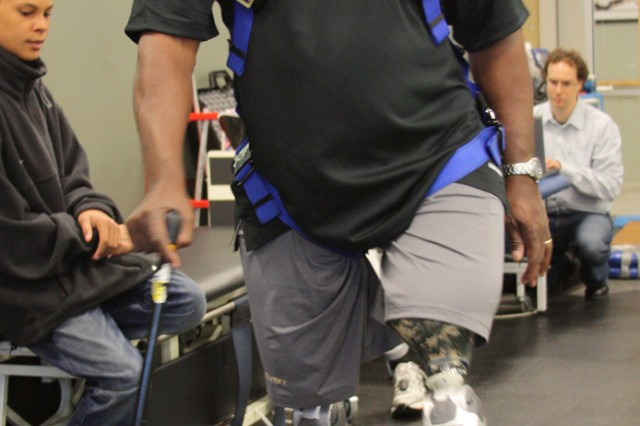 In 2009, then Lt. Col. Gregory D. Gadson became one of the first double amputees to be fitted with next-generation powered prosthetic knees which allow him to walk with a more natural gait. Gadson lost his legs to an improvised explosive device in Iraq in 2007. On June 25, he became the first double amputee in Army history to take the reins as garrison commander of a major installation.
