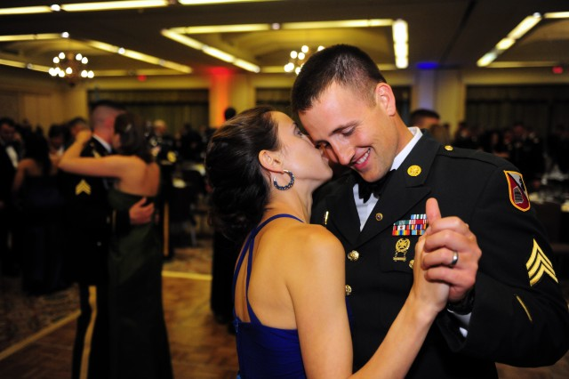 PRESIDIO OF MONTEREY, Calif. -- A Soldier and his date share a tender moment on the dance floor as the evening winds down at the 237th Army Birthday Ball June 9.
